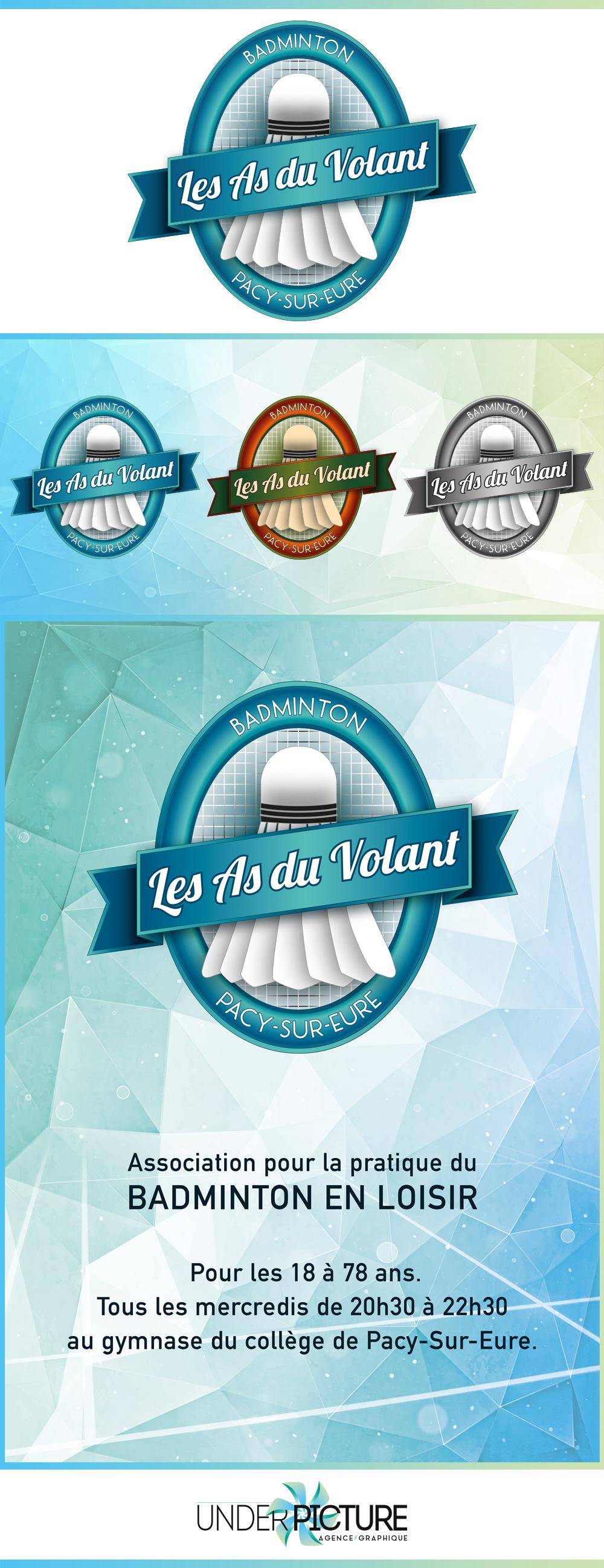 Logo, affiches et flyers pour l'association de badminton de Pacy sur Eure