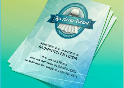 Affiches et flyers pour l'association de badminton de Pacy-Sur-Eure