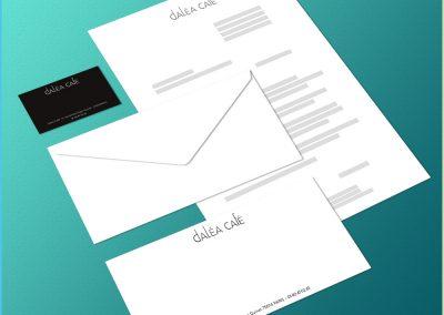 Carte de visite, lettre et carte de correspondance pour le restaurant Daléa Café
