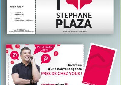 Flyer Stéphane Plaza Immobilier avec carte de visite détachable